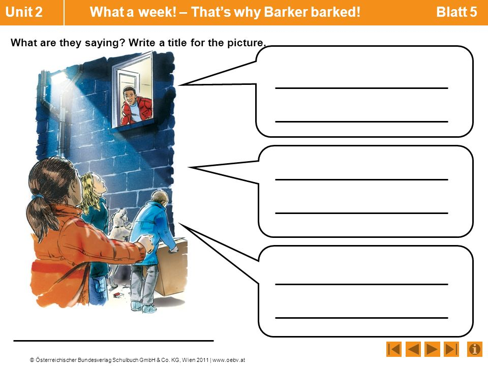 Unit 2 What a week! – That's why Barker barked! Blatt 5