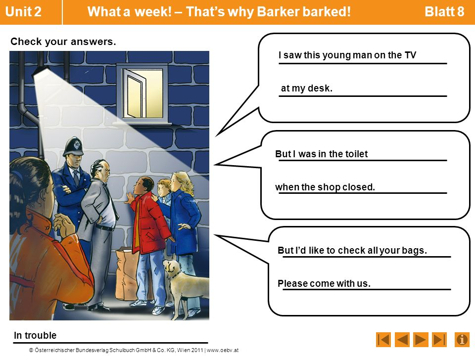 Unit 2 What a week! – That's why Barker barked! Blatt 8