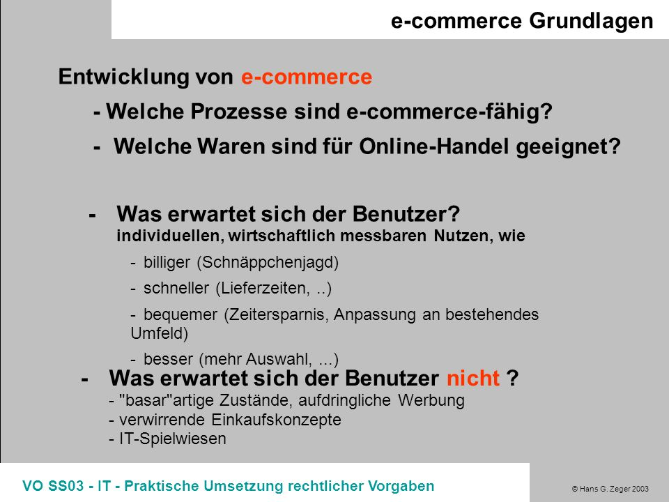 e-commerce Grundlagen