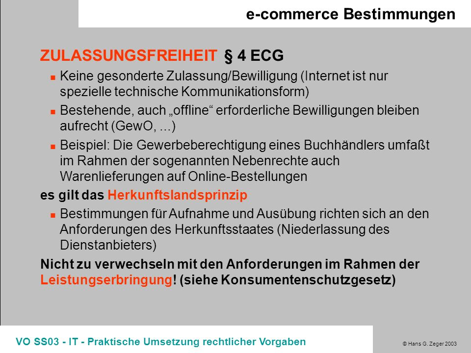 e-commerce Bestimmungen