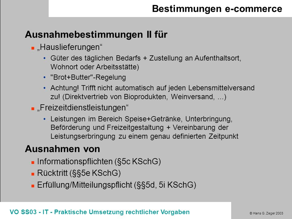 Bestimmungen e-commerce