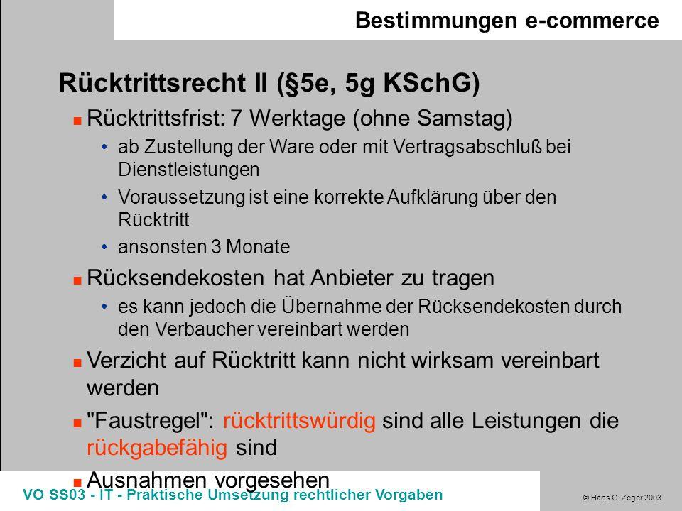 Rücktrittsrecht II (§5e, 5g KSchG)