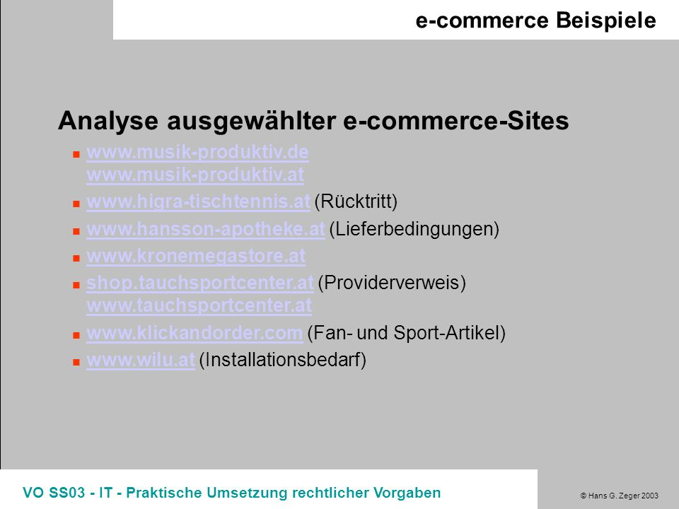 Analyse ausgewählter e-commerce-Sites