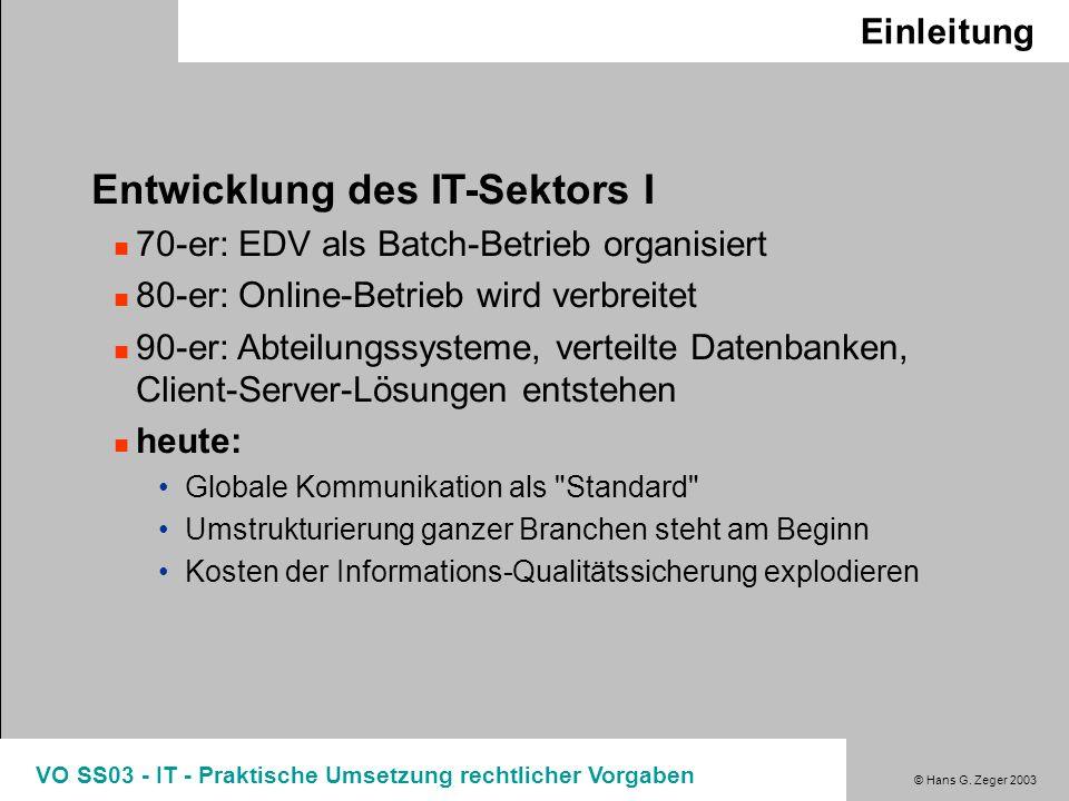 Entwicklung des IT-Sektors I