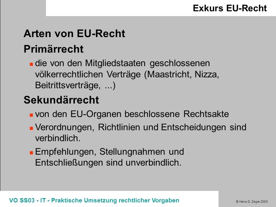 Arten von EU-Recht Primärrecht Sekundärrecht Exkurs EU-Recht