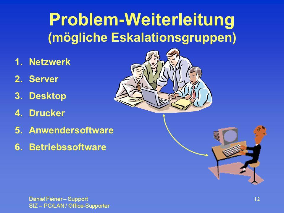 Problem-Weiterleitung (mögliche Eskalationsgruppen)