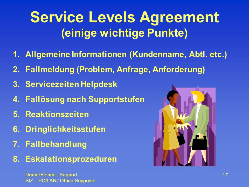 Service Levels Agreement (einige wichtige Punkte)