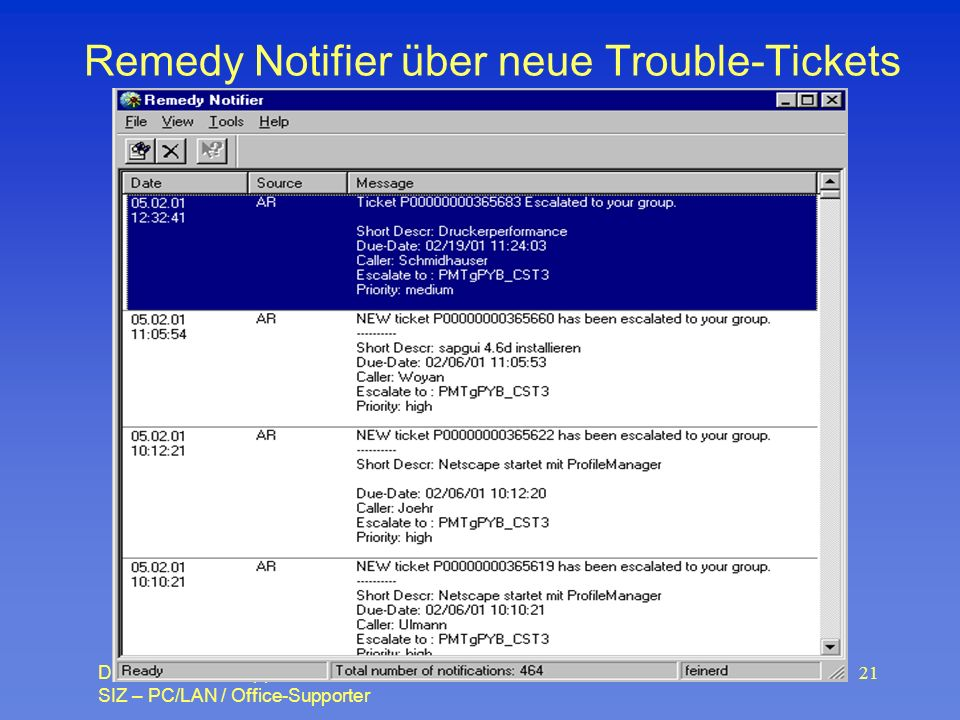 Remedy Notifier über neue Trouble-Tickets