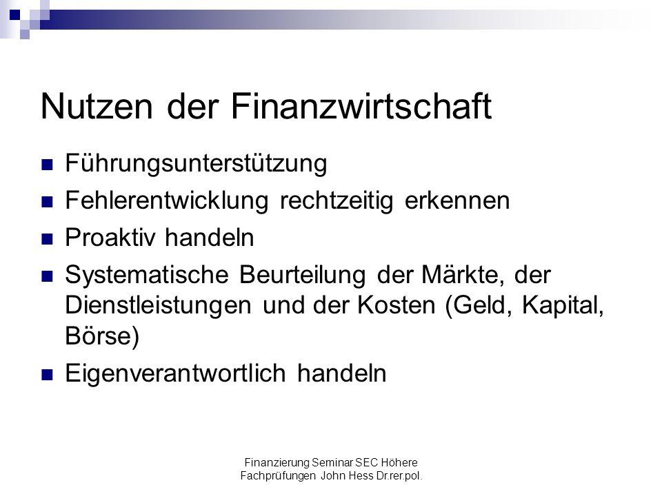 Nutzen der Finanzwirtschaft
