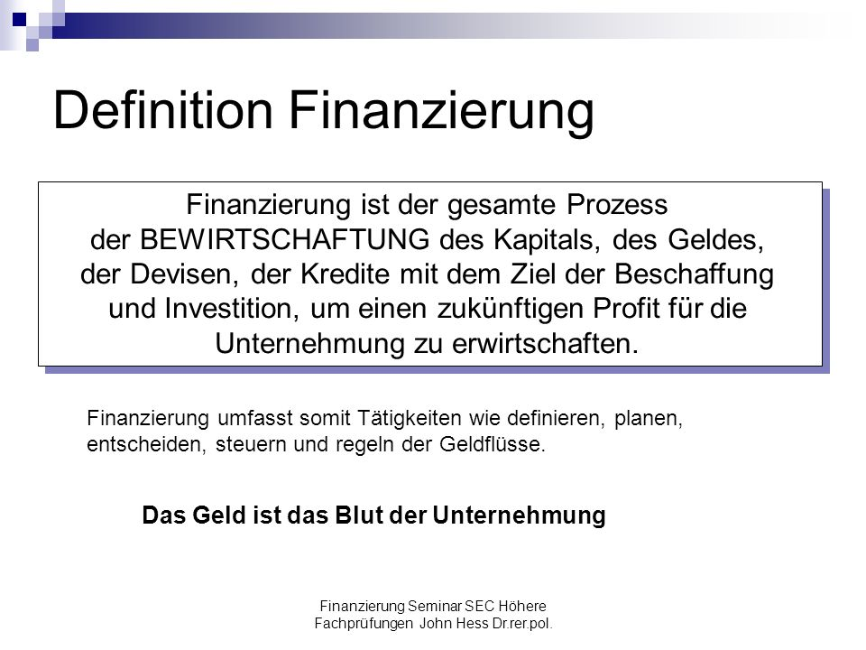 Definition Finanzierung