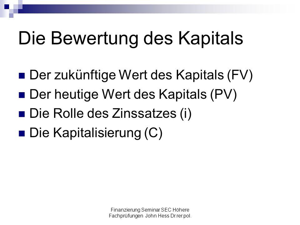 Die Bewertung des Kapitals