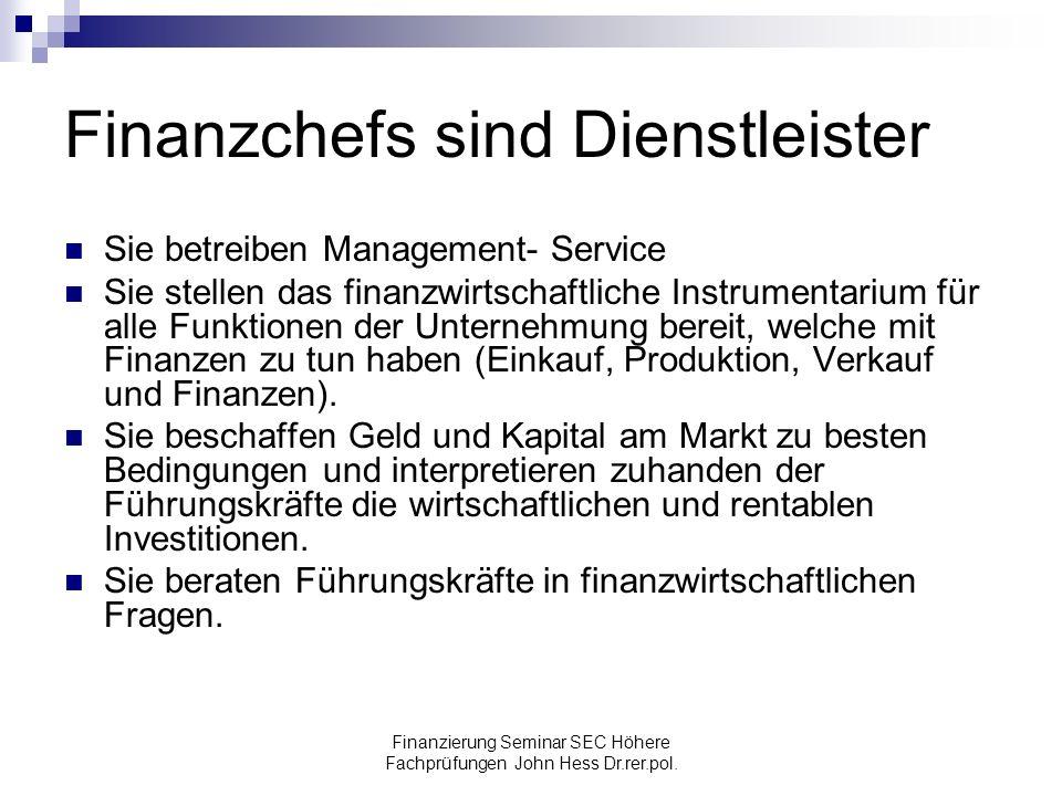 Finanzchefs sind Dienstleister
