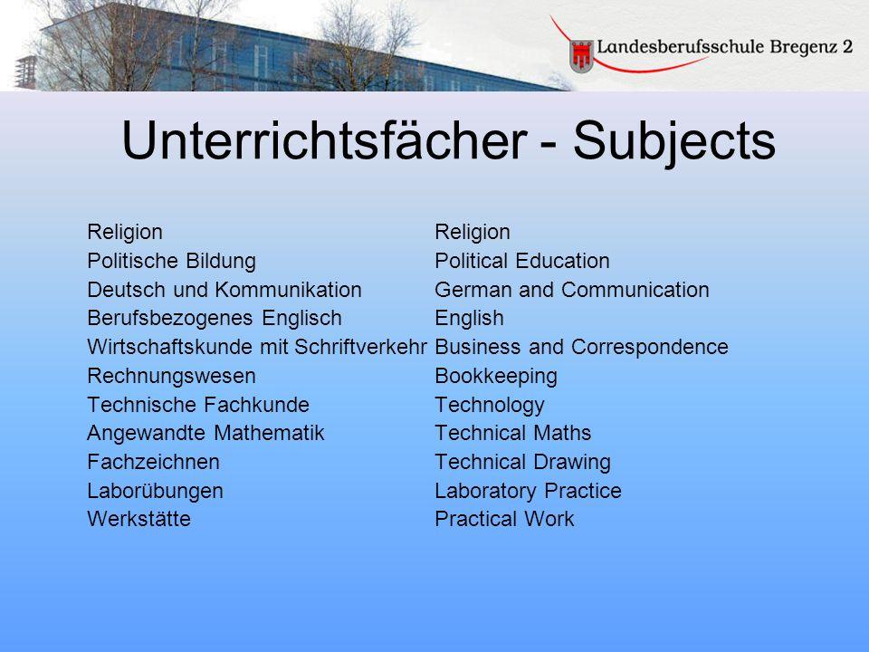 Unterrichtsfächer - Subjects