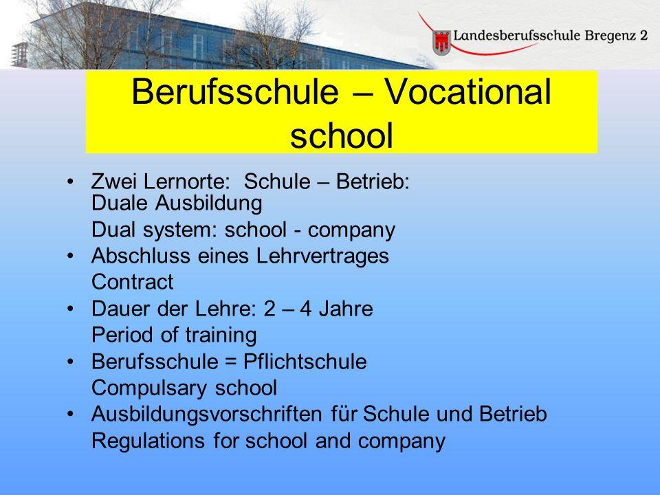 Berufsschule – Vocational school
