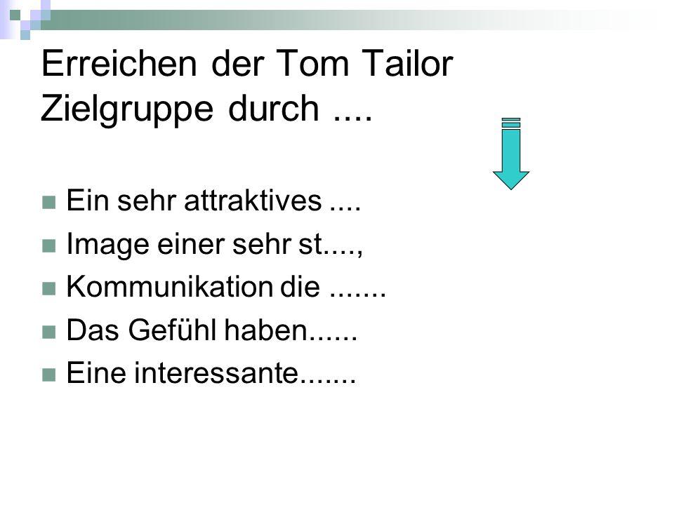 Erreichen der Tom Tailor Zielgruppe durch ....