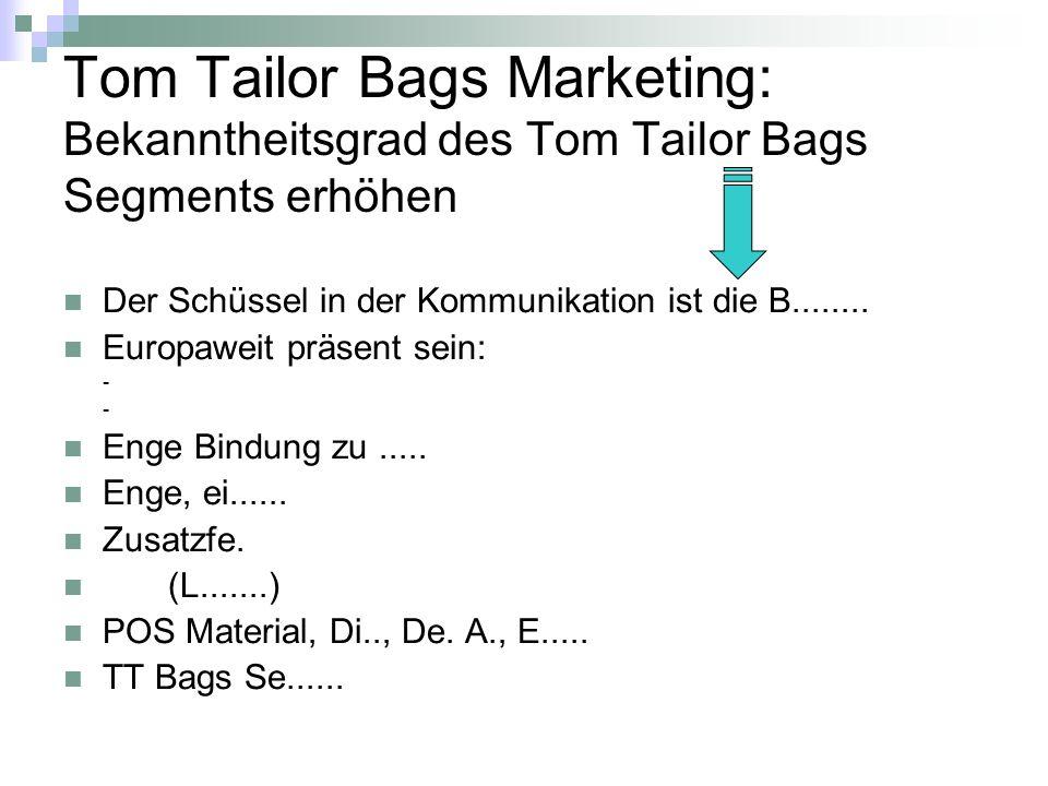 Tom Tailor Bags Marketing: Bekanntheitsgrad des Tom Tailor Bags Segments erhöhen
