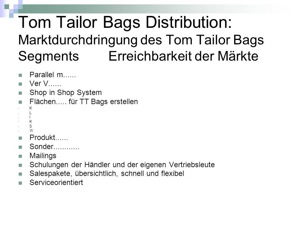 Tom Tailor Bags Distribution: Marktdurchdringung des Tom Tailor Bags Segments Erreichbarkeit der Märkte
