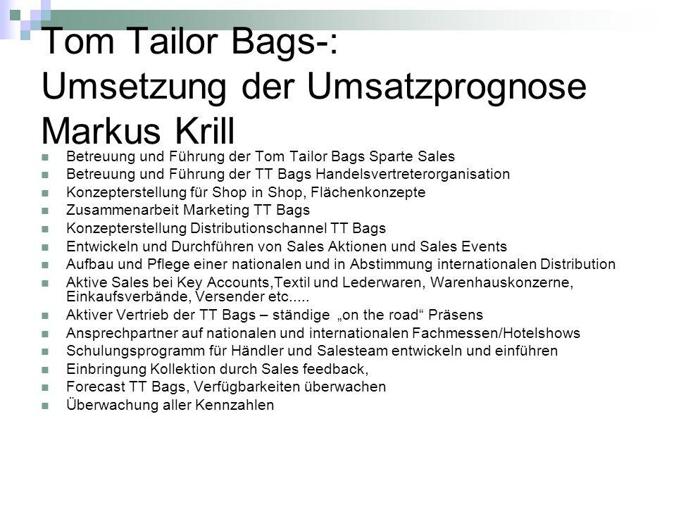 Tom Tailor Bags-: Umsetzung der Umsatzprognose Markus Krill