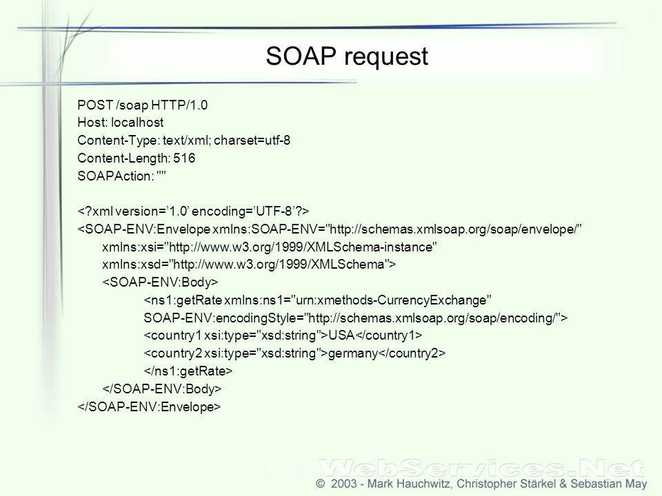 SOAP request POST /soap HTTP/1.0 Host: localhost