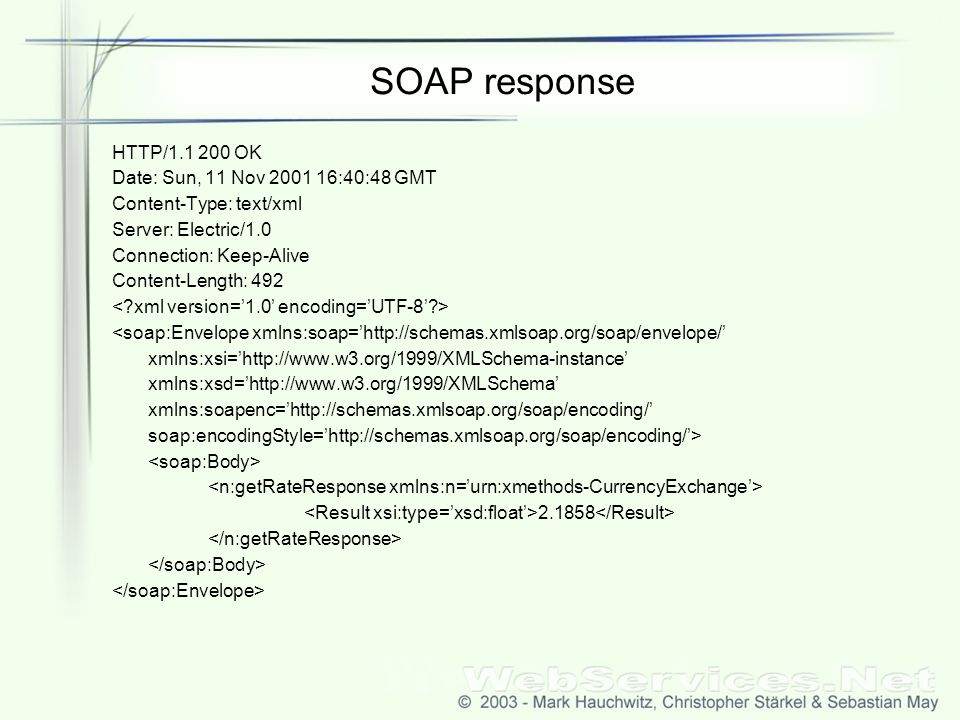 SOAP response HTTP/1.1 200 OK Date: Sun, 11 Nov 2001 16:40:48 GMT