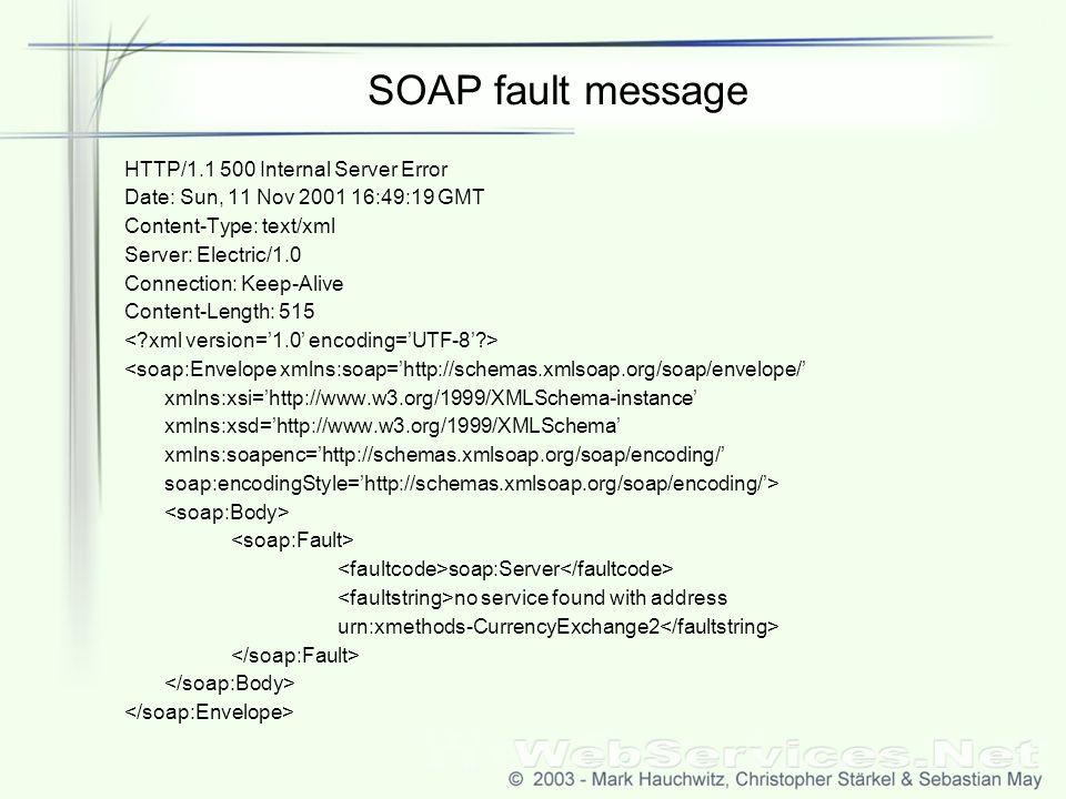 SOAP fault message HTTP/1.1 500 Internal Server Error