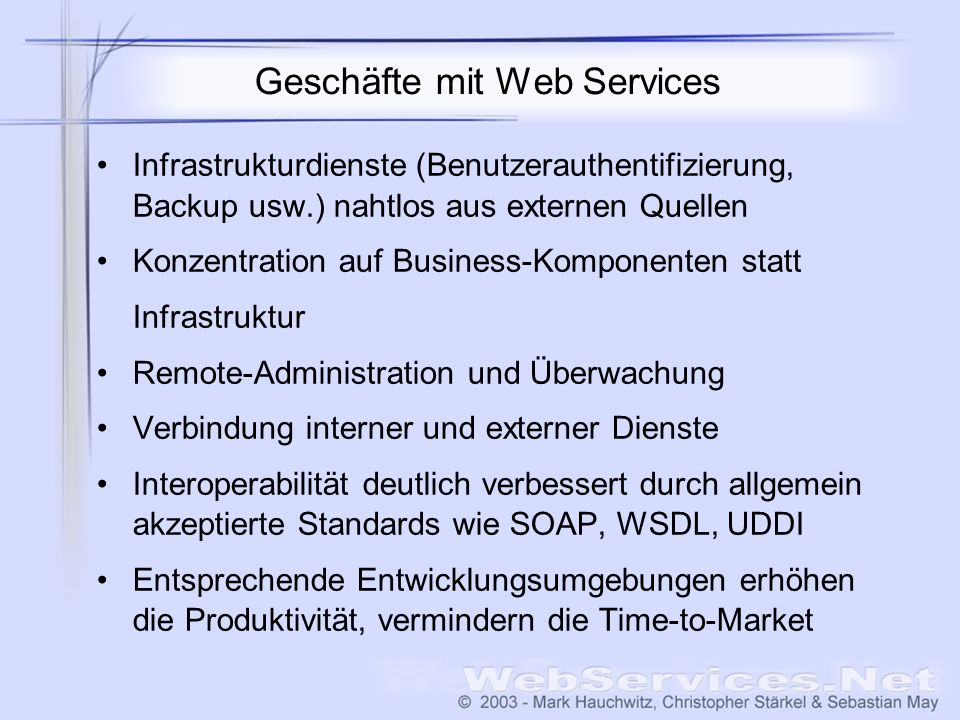 Geschäfte mit Web Services