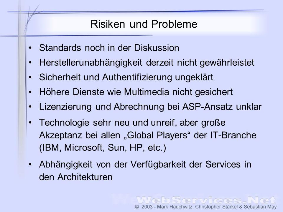Risiken und Probleme Standards noch in der Diskussion