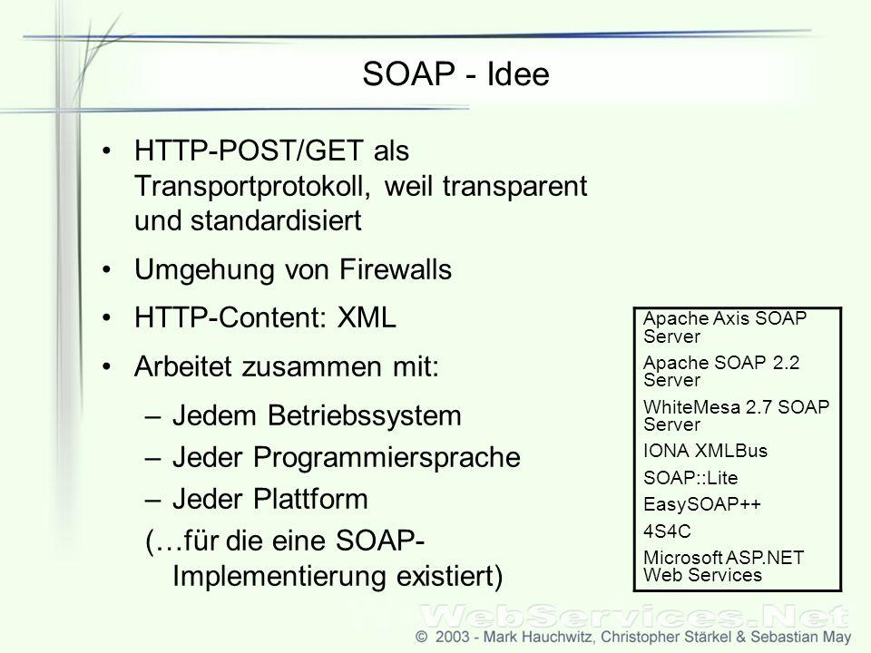 SOAP - Idee HTTP-POST/GET als Transportprotokoll, weil transparent und standardisiert. Umgehung von Firewalls.