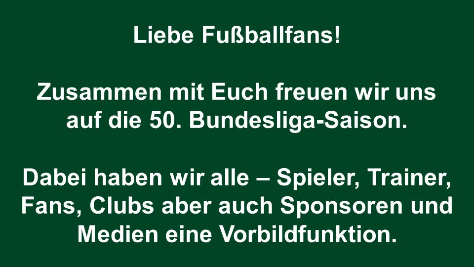 Zusammen mit Euch freuen wir uns auf die 50. Bundesliga-Saison.