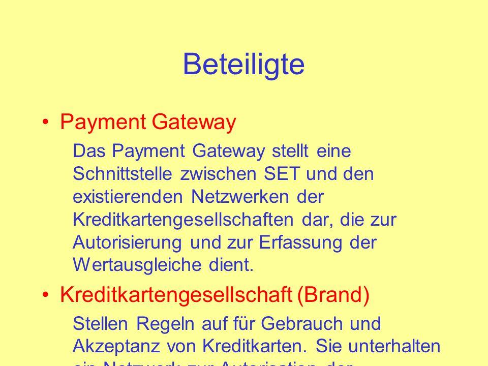 Beteiligte Payment Gateway Kreditkartengesellschaft (Brand)