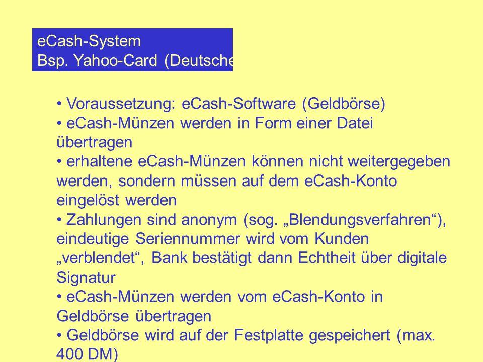 eCash-System Bsp. Yahoo-Card (Deutsche Bank) Voraussetzung: eCash-Software (Geldbörse) eCash-Münzen werden in Form einer Datei übertragen.