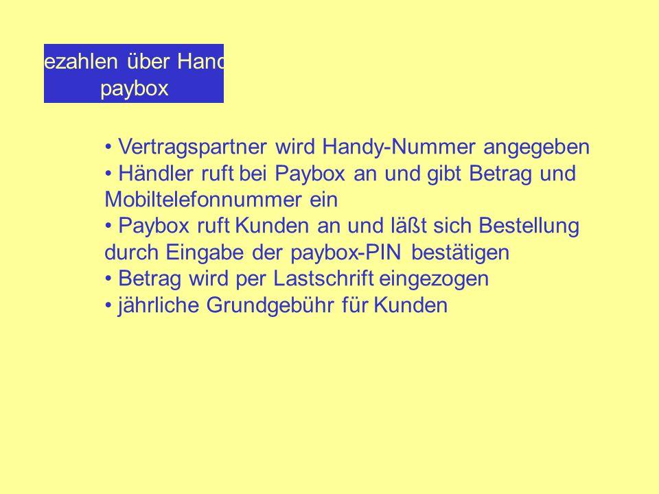 Bezahlen über Handy paybox. Vertragspartner wird Handy-Nummer angegeben. Händler ruft bei Paybox an und gibt Betrag und Mobiltelefonnummer ein.
