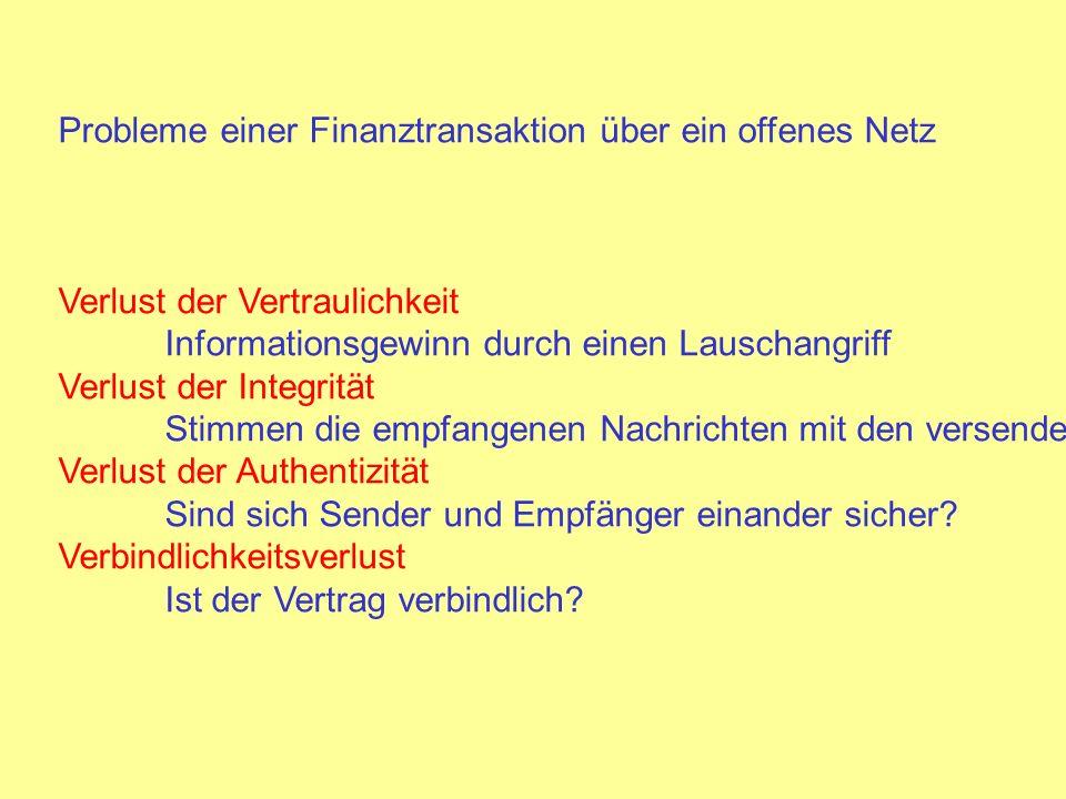 Probleme einer Finanztransaktion über ein offenes Netz