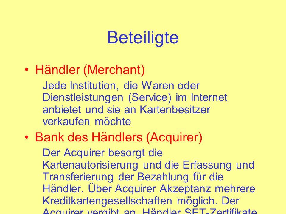 Beteiligte Händler (Merchant) Bank des Händlers (Acquirer)