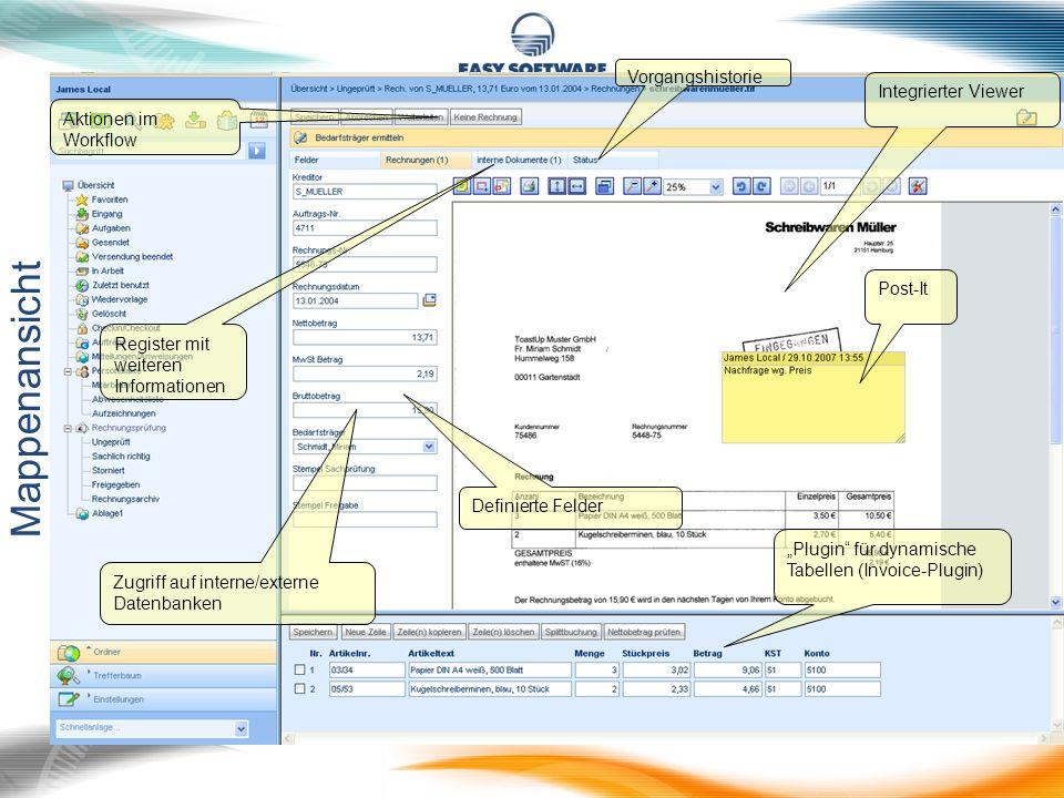 Mappenansicht Vorgangshistorie Integrierter Viewer