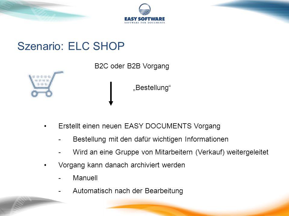 """Szenario: ELC SHOP B2C oder B2B Vorgang """"Bestellung"""