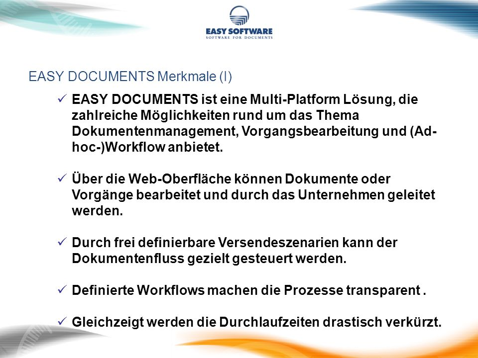 EASY DOCUMENTS Merkmale (I)
