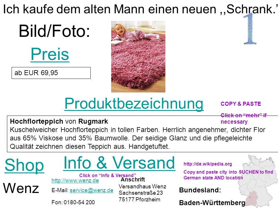 Bild/Foto: Preis Info & Versand Shop Produktbezeichnung Wenz