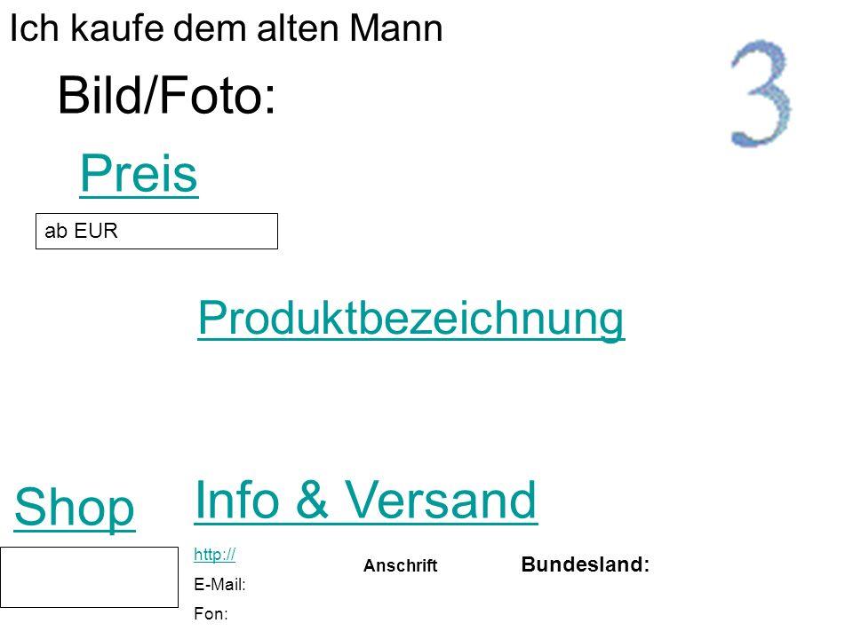 Bild/Foto: Preis Info & Versand Shop Produktbezeichnung