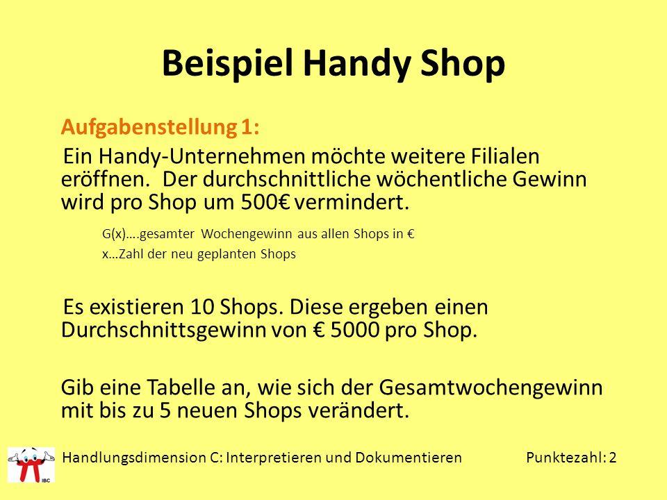 Beispiel Handy Shop Aufgabenstellung 1: