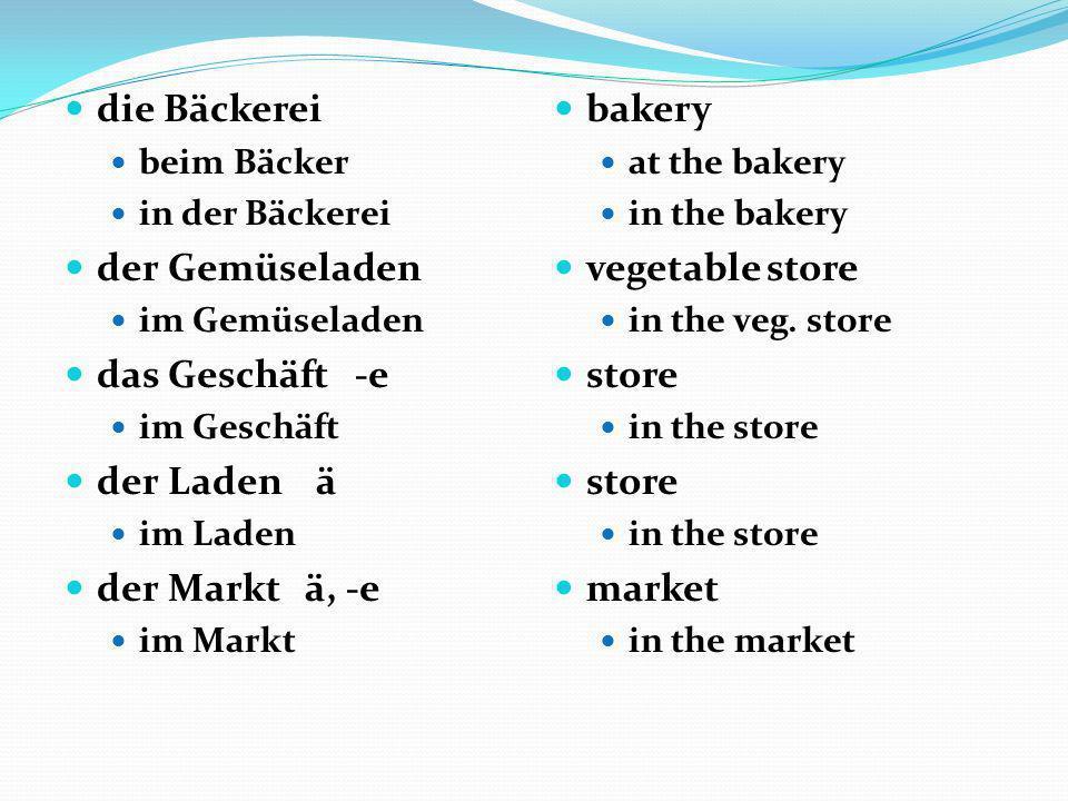 die Bäckerei der Gemüseladen das Geschäft -e der Laden ä