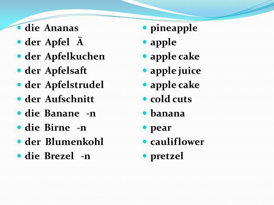 die Ananas der Apfel Ä. der Apfelkuchen. der Apfelsaft. der Apfelstrudel. der Aufschnitt.