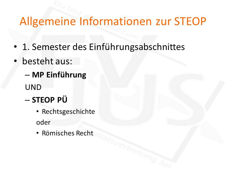 Allgemeine Informationen zur STEOP