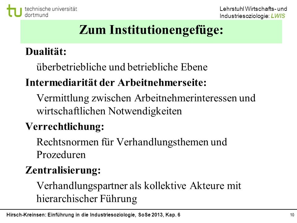 Zum Institutionengefüge: