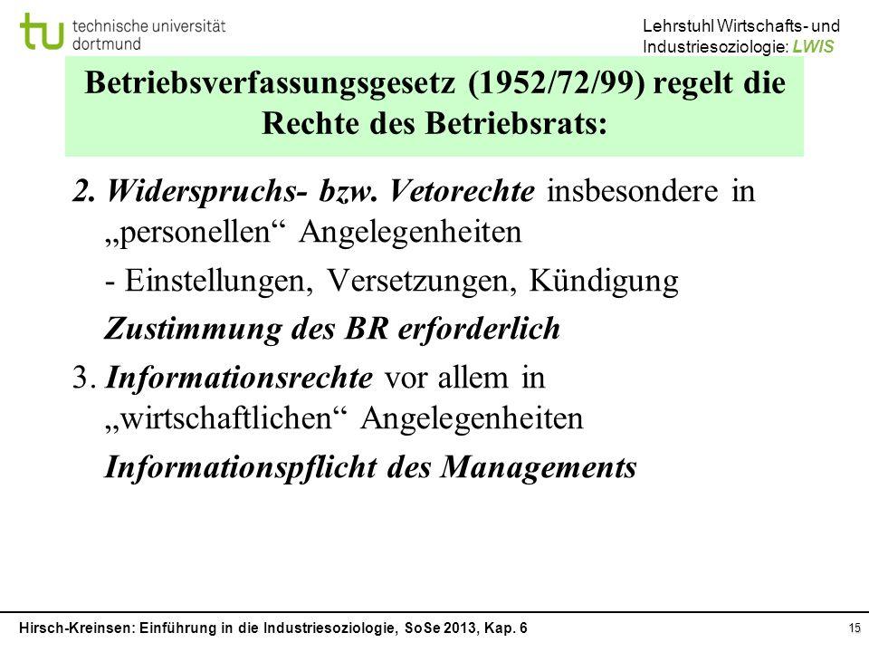 Betriebsverfassungsgesetz (1952/72/99) regelt die Rechte des Betriebsrats: