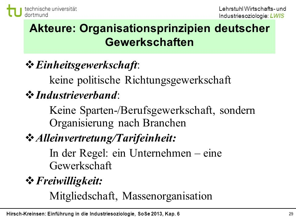 Akteure: Organisationsprinzipien deutscher Gewerkschaften