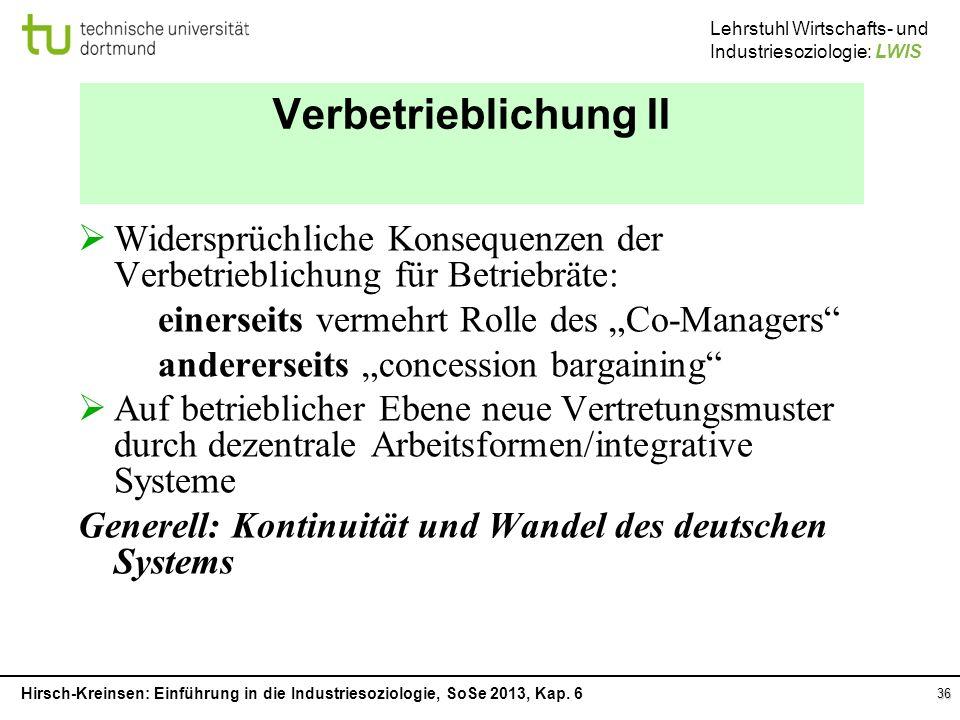 """Verbetrieblichung II Widersprüchliche Konsequenzen der Verbetrieblichung für Betriebräte: einerseits vermehrt Rolle des """"Co-Managers"""