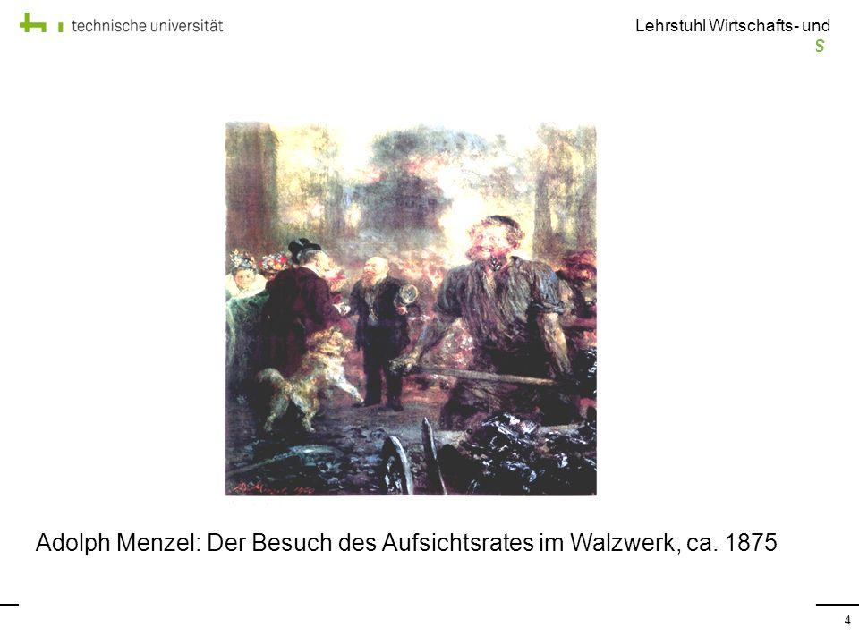 Adolph Menzel: Der Besuch des Aufsichtsrates im Walzwerk, ca. 1875
