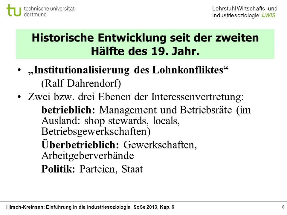 Historische Entwicklung seit der zweiten Hälfte des 19. Jahr.