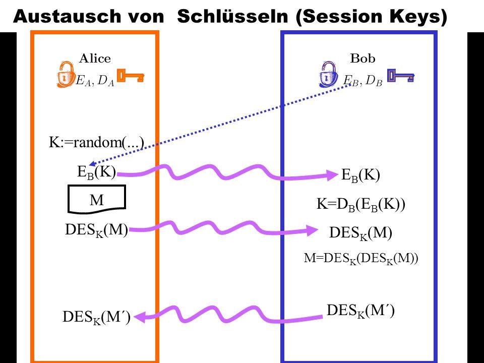 Austausch von Schlüsseln (Session Keys)